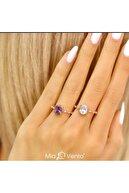 Mia Vento Mistik Topaz Ihtişamı Rose Renk Gümüş Yüzük