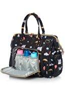 Lal Baby Baggage Bag Fil Desenli Siyah Omuz Askılı Anne Bebek Bakım Çantası
