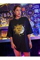 Leprikon Kadın Siyah Baskılı Tshirt