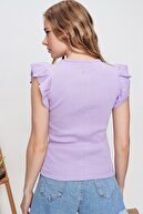 Trend Alaçatı Stili Kadın Açık Lila Yakası Taşlı Fittili Bluz ALC-X6518