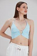 Transacoustic Turkuaz Halkalı Tulumlu Bikini Üstü