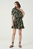 Network Kadın Basic Fit Siyah Yeşil Desenli Mini Elbise 1079826