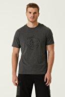 Network Erkek Slim Fit Antrasit Melanj Baskılı T-shirt 1079839
