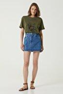 Network Kadın Basic Fit Haki Baskılı T-shirt 1079562