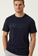 Network Erkek Slim Fit Lacivert Baskılı T-shirt 1079837