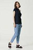 Network Kadın Basic Fit Lacivert Omuz Detaylı T-shirt 1079438