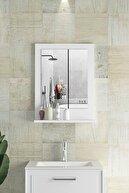 bluecape Verona 45x60cm Beyaz Raflı Banyo Aynası