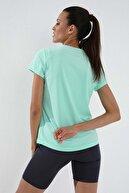Tommy Life Mint Yeşili Kadın Basic Kısa Kol Standart Kalıp O Yaka T-shirt - 97144