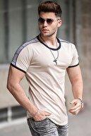 Madmext Erkek Bej Omuz Ekose Detaylı T-shirt 4101