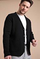 Ferraro Erkek Siyah Üç Düğmeli İnce Pamuk Triko Ceket