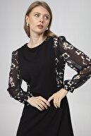 Journey Elbise-sıfır Yaka, Zıt Renk Kombinli, Kol Büzgülü