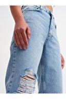 Dilvin Tek Tarafı Lazerli Yırtmaçlı Pantolon Mavi 4418