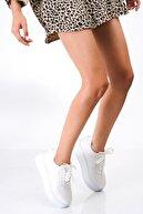 bescobel Kadın Yüksek Taban Renk Detaylı Sneaker