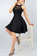 lovebox Esnek Kumaş Transparan Detay Siyah Abiye Elbise Kına Nişan Mezuniyet Elbisesi 2222