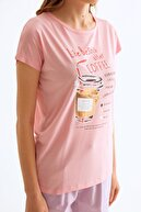 Fullamoda Kadın  Pudra Coffee Baskılı Tshirt