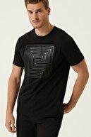 Network Erkek Slim Fit Siyah Baskılı Basic T-shirt 1078295