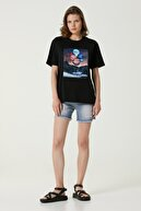 Network Kadın Geniş Fit Siyah Baskılı T-shirt 1079950