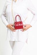 ZÜBA BAGS Kadın Kırmızı Mini Zincirli Kemerli Çanta