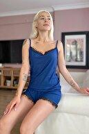 Pijamaevi Kadın Indigo Kaşkorse Dantel Detaylı Ip Askı Şortlu Örme Pijama Takımı