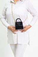 ZÜBA BAGS Kadın Siyah Mini Zincirli Kemerli Çanta