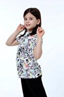 Stiloda Kız Çocuk Kalp Baskılı Kısa Kollu Tişört