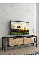 Wood'n Love Toprak 140 Cm Metal Ayaklı Mermer Desenli Modern Tv Ünitesi
