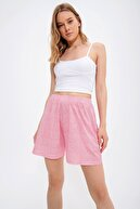 Trend Alaçatı Stili Kadın Pembe Çiçek Desenli Cepli Şort ALC-X6570