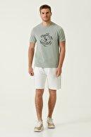 Network Erkek Slim Fit Mint Baskılı T-shirt 1079840
