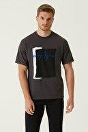 Network Erkek Slim Fit Antrasit Bisiklet Yaka Baskılı T-shirt 1079842