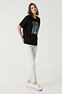 Network Kadın Geniş Fit Siyah Baskılı T-shirt 1079942