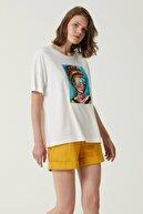Network Kadın Geniş Fit Beyaz Baskılı T-shirt 1079942