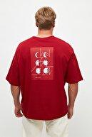 TRENDYOL MAN Bordo Erkek Kısa Kollu Sırt Baskılı Oversize T-Shirt TMNSS21TS0617