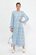 Trendyol Modest Mavi Desenli Tesettür Elbise TCTSS21EL3471