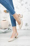owwo club Tara; Bej Cilt, Arkası Açık, Klasik Topuklu Ayakkabı