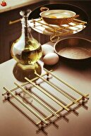 EMN GRUP Servis Sunum Seti Havluluk Peçetelik Nihale Gold Altın Kaplama 3lü Mutfak Seti