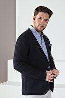 Ferraro Erkek Lacivert Üç Düğmeli Ince Pamuk Triko Ceket