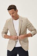 Altınyıldız Classics Erkek Bej-Kahverengi Slim Fit Dar Kesim Mono Yaka Kareli Casual Ceket