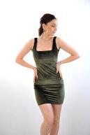 bayansepeti Kadın Kadife Kumaş Esnek Kare Yaka Haki Mini Elbise Emr42