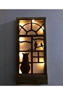 MSAĞWOODS Piller Dahil Peri Ledli Desenli Masif Ahşap Tablo 36x18 Duvar Süsü Ev Hediyesi Hol Antre Gece Lamba