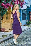 Roop Fabric Yırtmaçlı Askılı Elbise Mavi