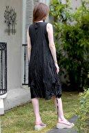 Chiccy Kadın Siyah Sıfır Yaka Ahşap Boncuklu Yanı Büzgü Detaylı Astarlı Dokuma Elbise M10160000EL94876