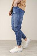 Oksit Reax 7003 Yırtıklı Paçası Lastikli Slim Fit Erkek Jean Pantolon
