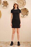 LEKKER Kadın Siyah Yaka Ve Kol Şerit Detaylı Örme Elbise