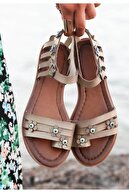 Espardile Tonx Vizon Cilt Sandalet