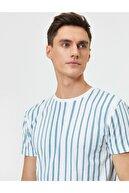 Koton Erkek Mavi Bisiklet Yaka Çizgili Baskılı Slim Fit T-shirt