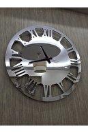 Tuba Decor Gümüş 50x50 cm Duvar Saati Büyük Yuvarlak Aynalı Pleksi Dekoratif Ofis Ev Saati