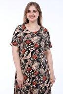SENTEX Geniş Beden Desenli Siyah Zemin Üzeri Bej Yapraklı Elbise