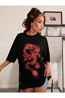 MODAGEN Kadın Siyah Chinese Dragon Baskılı Oversize T-shirt