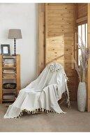 Miracolo Home Pamuklu Dekoratif Koltuk Örtüsü-çok Amaçlı Örtü-özel Kaymaz Tasarım-açık Gri- 170x230