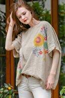 Chiccy Kadın Bej Sıfır Yaka Günebakan Çiçek Desenli Salaş Dokuma Bluz M10010200BL95412
